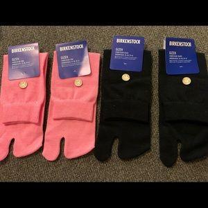 2 pair Birkenstock gizeh socks, 1 pink, 1 black